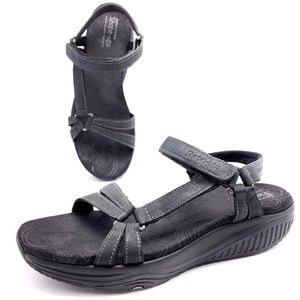 Skechers Shape Ups Dash Black Wedge Sport Sandals